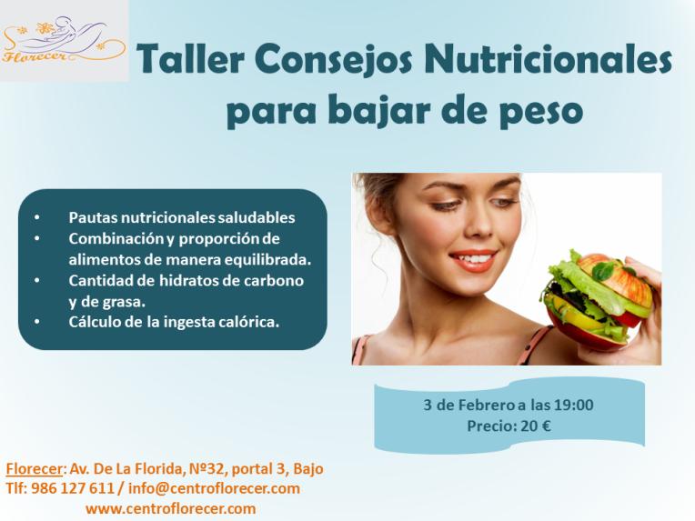 Taller Consejos Nutricionales para bajar de peso